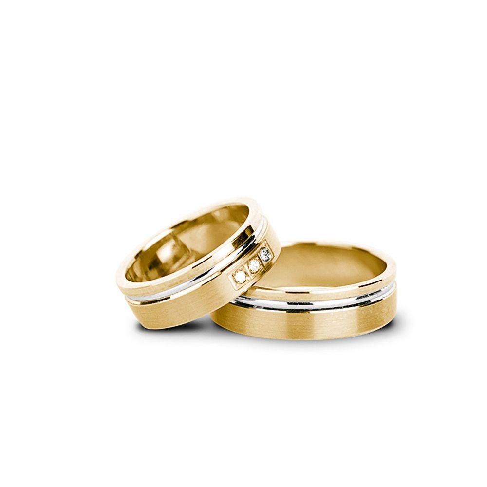 Verighete Aur Galben și Alb Cu Pietre V42 Bijuterii Din Aur Elegance
