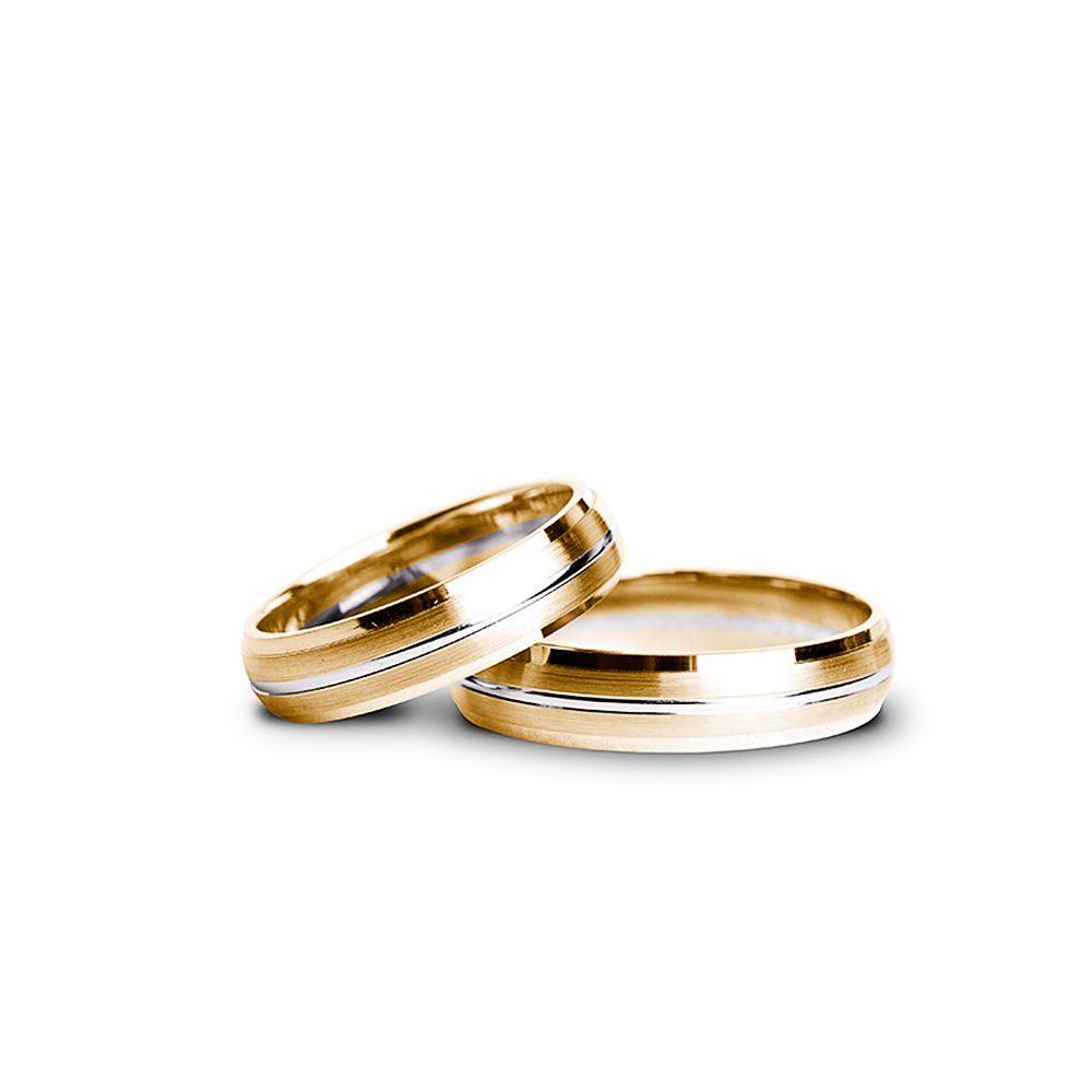 Verighete Aur Galben și Alb V50 Bijuterii Din Aur Elegance