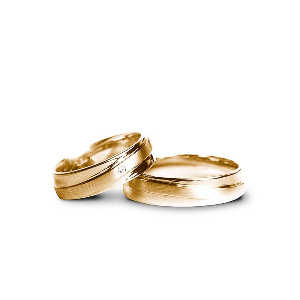 Verighete Aur Galben Cu Piatră V54 Bijuterii Din Aur Elegance