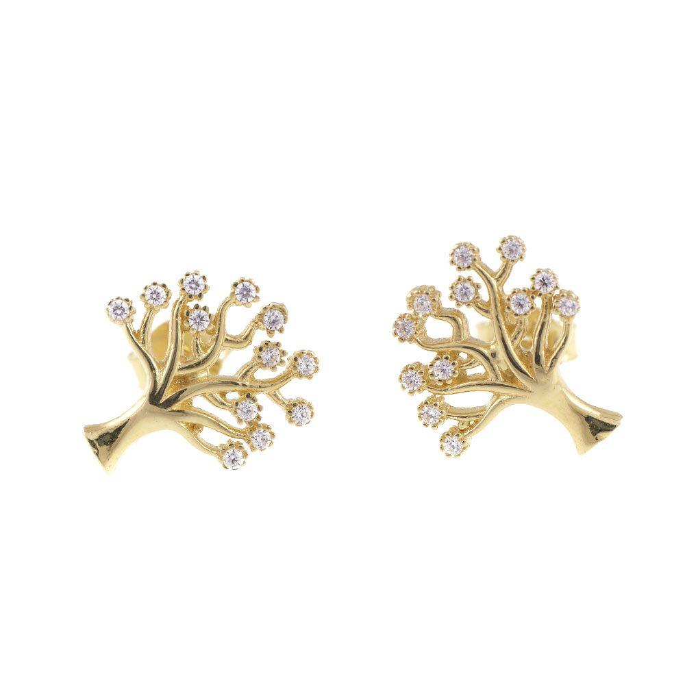 economii fantastice nou stil pantofi ieftin Cercei copacul vietii cu aur galben si cristale zirconia C369 ...